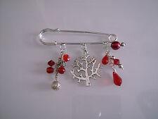 Broche Original Rouge/Argenté Arbre/Nature Perle bijou sac cadeau noël pas cher