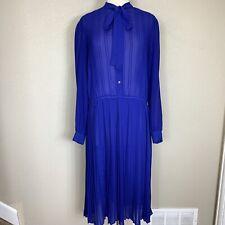 Vintage Diane Von Furstenberg Blue Pleated Dress Size 12 Long Sleeve VTG