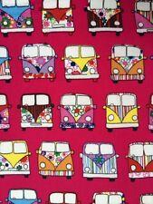 Camper Vans Cerise Fabric Remnant 100% Cotton 50cm x 40cm