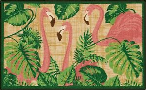 Nourison Tropical Flamingos Accent Rug One Size Pink/beige/green