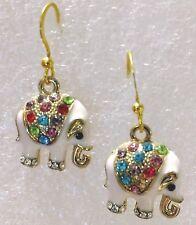 Earrings Elephant Pale Pink Enamel Multi Color Crystal Drop Gold Hook Earrings
