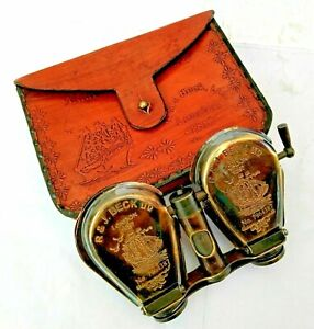 Nautical Brass 5inch Binocular Flap style Open with Leather Cover
