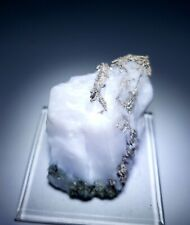 ***WOW-Native Silver Dyscrasite crystals on Fluorescent Calcite, mine Morocco***