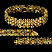 TOP MULTI COLOR SAPPHIRE BRACELET : Natürliche Mehrfarbig Saphir Armband  B126