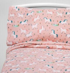 Brand New Pillowfort Twin Size Flannel Sheet Set Fairytale Frolic Unicorn