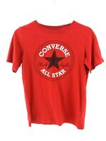 CONVERSE Boys T-Shirt Top 10-12 Years Red Cotton & Polyester