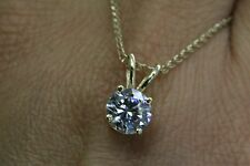 """1CT ROUND SOLITAIRE PENDANT NECKLACE 18"""" CHAIN  SOLID 14K YELLOW  GOLD"""