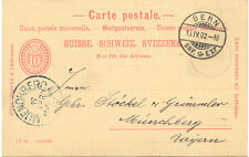"""CH """"BERN - BRF. EXP."""" Steg-K2 1902 a. 10 (C.) rot Ziffern GA-Postkarte n. Bayern"""