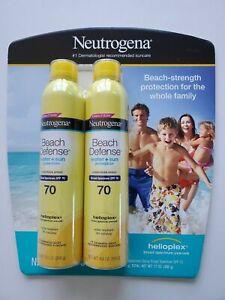 Neutrogena Beach Defense Broad Spectrum SPF 70- 2 Pack Sunscreen Spray 8.5 oz