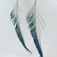 Long Peacock Feather Dangle Earrings