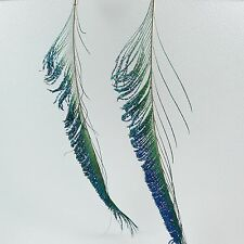 Long Peacock Feather Dangle Earrings