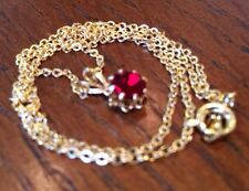 """Birthstone Necklace -January-GARNET Aust.Crystal- 18"""" Gold,red- #BS 4-LOVELY BN"""