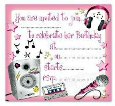 16 x POP MUSIC PARTY INVITES INVITATIONS + envelopes birthday girls teens kids T