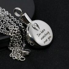 Personalized Angel Wing Round Cremation Jewelry Keepsake Memorial Urn Necklace