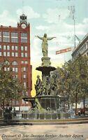 Cincinnati Ohio~Tyler-Davidson Fountain Square Close Up~Clock Tower~1910 PC