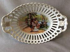 Panière porcelaine ajourée scène galante décor peint dorure 1ère moitié XIX e