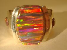 Rare 12 HANDSOME Signet RED True FIRE OPAL Ring, 11 OPALS! Sterling 925