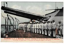 Vintage Postcard Quarterdeck U.S. Battleship Missouri Showing Marines Inspection