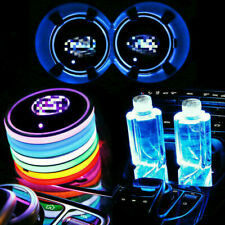 2pc Colorful Led Car Cup Holder Bottom Pad Mat Auto Atmosphere Fit For Toyota