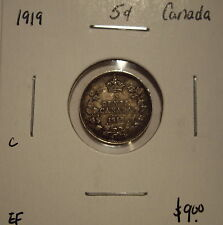 C Canada George V 1919 Silver Five Cents - EF