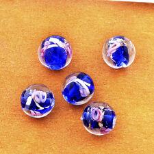 5Pcs Murano Glass Lampwork Pink Flower Small Hole Lovely European Beads