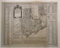 CARTE DU DIOCESE DE BEZIERS - FRANCE - ANTIQUE COPPER ENGRAVED MAP 1708