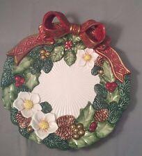 Vintage Fitz & Floyd Porcelain Christmas Wreath Plate with Bow - 1995