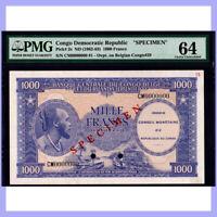 CONGO 1962 1000 FRANCS SPECIMEN P#2s PMG UNC 64 - FINEST!!
