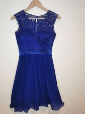 Quiz ladies dress royal blue lace tulle size 8 sleeveless polyester