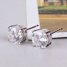 White Gold filled stud earrings Solitaire White crystal Topaz round 24ct women's