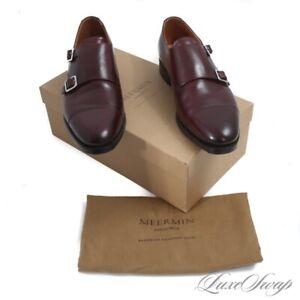 #1 MENS LNIB Meermin Mallorca Burgundy Oxblood Hiro Last Double Monk Shoes 8.5