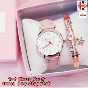 Kids Wrist Watches Childrens Watch For Boys Girls Leather Suede Strap Gift Set