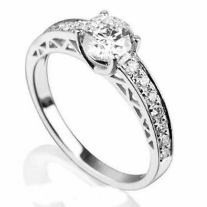 1.1 CT SOLITAIRE AND ACCENTS ROUND SHAPE DIAMOND 18K WHITE GOLD RING SIZE 5 - 9