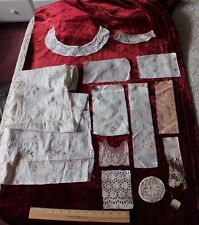 Vintage & Antique Doll Bundling Group~French & Swiss Embroideries~Rose Print