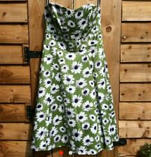LAURA ASHLEY Size 12/14 Green White Daisy Floral Print Strapless A-line Dress