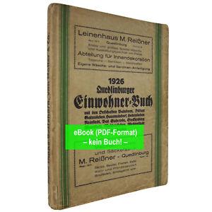eBook: Adressbuch Quedlinburg (Stadt u. Ld.) 1926 Prov. Sachsen (AB456)