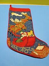 Beautiful Needlepoint Christmas Stocking Santa Claus Sleigh & Reindeer Felt Back