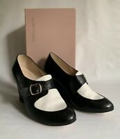 """Lucille I'italien Black & White Leather Buckle Front 3.5"""" Wedge Heel Shoes UK 5"""