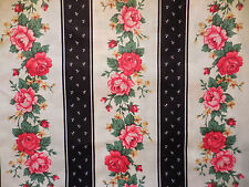 VIP Cranston Pink roses ticking style stripe Quilt fabric French Cottage Chic