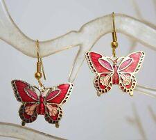 Elegant Art Noveau Style Red Cloisonne Enamel Butterfly Earrings 1970s vintage