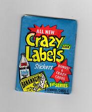 (1) 1979 Fleer Crazy Labels Unopened Sealed Pack Litely Bananacin Wrapper NM