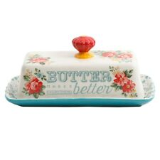 The Pioneer Woman Teal Vintage Covered Floral Butter Dish