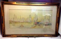 "Vintage Art Deco  P. Trevethan Artist Signed ""High Rise River Scene"" Water Color"
