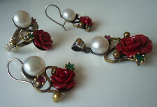 Rose Model Handmade 925 Sterling Silver Pearl Ruby Emerald Jewellery Set