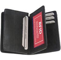 Black RFID Blocking Men's Leahter Bifold Wallet Gusseted Center Flap Card Holde