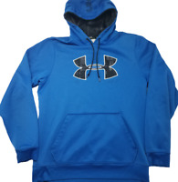 Under Armour Mens Medium Blue Large Logo Storm Fleece Hoodie Sweatshirt