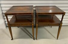 """Antique Weiman """"HEIRLOOM"""" Mahogany End Tables W/inlaid & Leather Tops"""
