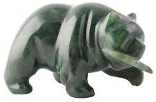 Genuine Natural Canadian Nephrite Jade Bear w/ Fish Figurine - Style 169