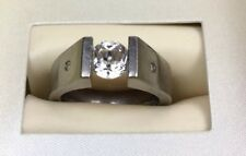 Geheimnis White Topaz and Diamonds Titanium High Tension Setting Floating sz 5