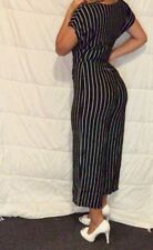 Black And White Striped Women's Jumpsuit - Size 8